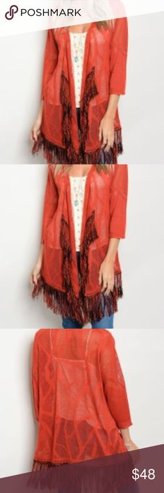 """Crochet Knit Aztec Print Cardigan with Fringe Gorgeous brightly colored fringed cardigan.  L: 37"""" B: 46"""" W: 44"""". Fabric Content: 55% COTTON 45% POLYESTER. Perfect for fall! C.C. Boutique Sweaters Cardigans"""