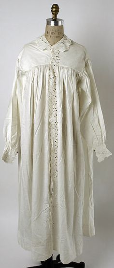 Night dress. Cotton. ca.1858. Length at CB: 49 in. (124.5 cm). Permission: The Met. Gift of Miss Joyce Wolfson, 1950.
