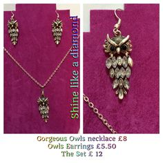 So pretty sparkly owls necklace and earrings   https://www.facebook.com/pages/Shine-Like-a-Diamond/1518072811757777