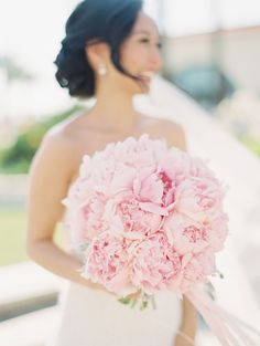 Luxurious pale pink peony bouquet by Green Leaf Designs ~ we ❤ this! moncheribridals.com