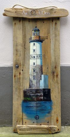 Lighthouse painted on old wood Pallet Painting, Pallet Art, Tole Painting, Painting On Wood, Deco Marine, Lighthouse Painting, Driftwood Crafts, Sea Art, Beach Crafts