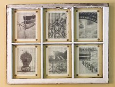 My former french professor (who is also a fantastic photographer) printed these photos on old dictionary pages and then pinned them up inside an old window frame and I LOVE it! How creative! And the photos look awesome.