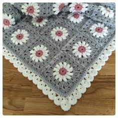 Grey and Pink daisy blanket by Little Dove Crochet