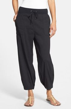 Eileen Fisher Slouchy Stretch Linen Capri Pants