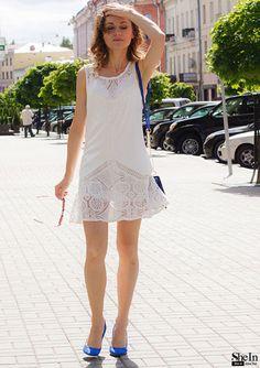 White Sleeveless Lace Ruffle Dress