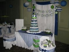 Minus the green this has some cute navy and white decor ideas Lil Sweet, White Decor, Baby Shower Decorations, Navy And White, Health And Beauty, Party Time, Showers, Shower Ideas, Parties