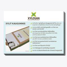Die Postkarte gibt einen Überblick über die Vorzüge der Xylosan Xylit Kaugummis  - Format: A6 - 10 Stück Shopping, Chewing Gum, Dental Health, Postcards, Products