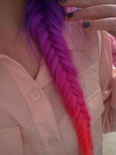Dip Dye ( spitzen färben) bei braunen Haaren. (Haare, Mädchen)