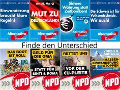 AfD- und NPD Wahlplakte im Vergleich