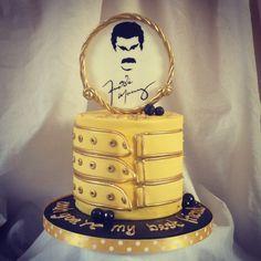 Freddie Mercury birthday cake for a best friend!! - Freddie Mercury themed 5inch sponge cake with a handpainted silhouette