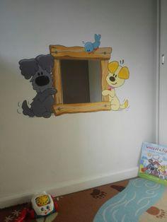 Woezel & Pip muurschildering met spiegel