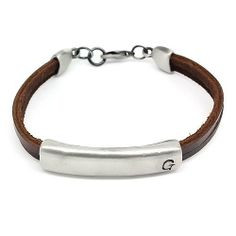 """Top Value Jewelry - Unisex Brown Leather 2 Band Bracelet with Stylish Silver Plated """"G"""" Slide Bead Top Value Jewelry. $20.99. Unique Leather Banded Design that is the Perfect Style for Male or Female. Contemporary and versatile piece for Anyone. Great Gift for Men and Women. Brown Leather Bracelet 2 Band Bracelet with Silver Slide Bead"""