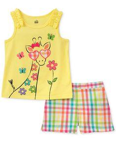 f959a769d205 Kids Headquarters 2-Pc. Giraffe Tank Top   Rainbow Check Shorts Set