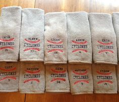 These towels are perfect for your team getting ready to go to the World Series for trading pins! They are also great for a sweat towel for team or
