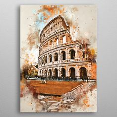 See amazing artworks of Displate artists printed on metal. Easy mounting, no power tools needed. Interior Architecture Drawing, Architecture Drawing Sketchbooks, Architecture Concept Drawings, Watercolor Architecture, Watercolor Illustration, Watercolor Paintings, Watercolour, Rome Art, Guache