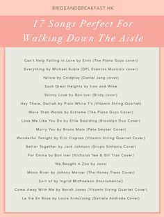 Walk down the aisle with the perfect song! wedding songs 17 Songs Perfect For Walking Down The Aisle