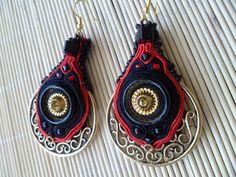 red, black, gold soutache earrings