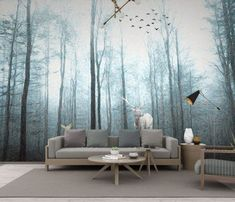 Winter Forest Wallpaper Mural Decal Mural Photo Sticker Decal Wall Self-Adhesive Wall Art Design printed Removable Wallpaper Wallpaper Online, Home Wallpaper, Wallpaper Ideas, Graffiti Wall, Wall Murals, Photo Wall Stickers, Misty Forest, Printed Curtains, Room Rugs