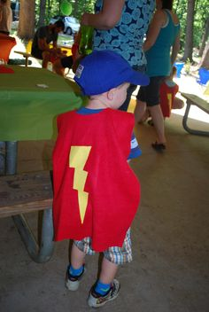 Sesame Street Party -Super Grover Capes, red and yellow fleece, no sew! Children went to go rescue baby owls (stuffed owls hidden in the woods)