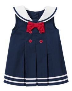 Peacoat Navy Bow Sailor Collar Dress by Gymboree. For your sweetest sailor girl. Soft poplin dress with a cute sailor collar and bow is accented with grosgrain ribbon tipping and fancy buttons on the pleated front. Baby Outfits, Sailor Outfits, Newborn Girl Outfits, Sailor Dress, Toddler Outfits, Kids Outfits, Baby Girl Fashion, Toddler Fashion, Kids Fashion