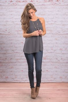 """""""Love Letter Tank, Charcoal"""" Have you ever loved an article of clothing so much you wanted to write love letters expressing your adoration? Well, if not get ready to meet the tank that will make you feel that way! #newarrivals #shopthemint"""
