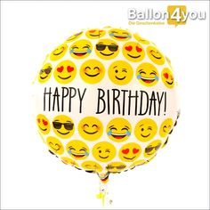 Happy Birthday - Smileys     Gute Laune hat viele Gesichter! Eine große Auswahl  davon findet sich auf diesem Happy Birthday Ballon wieder. Das Geburtstagskind darf dabei selbst wählen, welcher Smiley, an welchem Tag zutrifft.