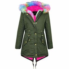 4 Kids Kids Girls Hooded Jacket Designers Rainbow Faux Fur Parka School Jackets Outwear Coat New Age 2 3 4 5 6 7 8 9 10 11 12 13 Years Sets T-Shirts-Blouses Faux Suede Biker Jacket, Faux Fur Parka, Parka Coat, Herren Winter, Stylish Jackets, Popular Outfits, Coats For Women, Girl Outfits, Girl Clothing