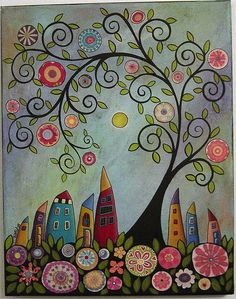 Swirl Tree Abstract Houses Painting