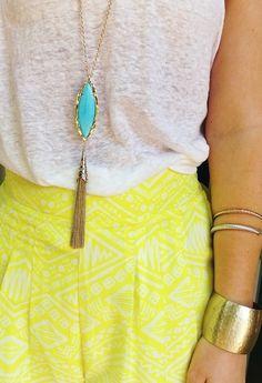 pinkandgreenlivingthedream:  Ootd Necklace- Kendra Scott #prep #preppy #style