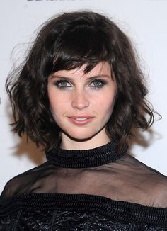 emma stone bangs | Actress Felicity Jones attends the 'Breathe In' premiere at Sunshine ...