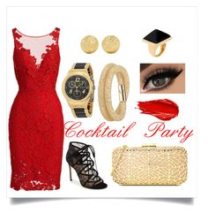 """""""Cocktail Party"""" by lucysefco on Polyvore featuring Swatch, ML Monique Lhuillier, Swarovski, Carolina Bucci, Urban Decay, Kenneth Jay Lane and Love Moschino"""
