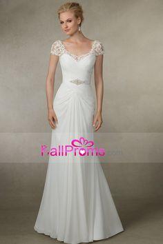 2016 abierto atractivo Volver vestidos de novia de la cucharada de una línea de gasa con apliques y volantes