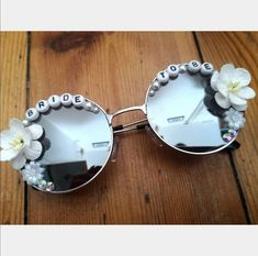 Festival Sunglasses, Cool Sunglasses, Round Sunglasses, Mirrored Sunglasses, Hen Do Outfits, Hen Party Presents, Love To Shop, Handmade Flowers, Bride Gifts