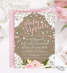 Addie Burlap, Lace & Flowers Baby Girl Sprinkle or Shower Invitation: Shabby Chic Blush Pink and Blue with Confetti Printed or Digital by SeaPaperDesigns on Etsy https://www.etsy.com/listing/224646015/addie-burlap-lace-flowers-baby-girl