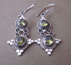 Outstanding Sterling Silver peridot dangle Earrings / 1.9 inch / silver 925 / Balinese handmade jewelry - $37.99 - from Indonesia