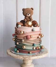 Birthday cakes are one of the most important things of interest in any birthday celebration. A birthday party with no tasty birthday cake will not mak. cake Gorgeous Ideas Cute, Chic and Simple Birthday Cakes Baby Cakes, Baby Shower Cakes, Gateau Baby Shower, Baby Birthday Cakes, Cupcake Cakes, Birthday Cake Designs, Teddy Bear Birthday Cake, Birthday Cake Decorating, Birthday Decorations