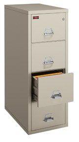 FireKing 421572CBL 4 Drawer Vertical File, Insulated, UL 2-Hour Fire, Legal Size, 32-1/16D, Black