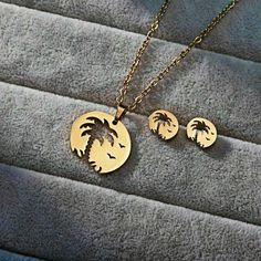 Stainless Steel Palm Tree Necklace and Earrings Set Studs Surfer Beach Sea Gold Tree Necklace, Gold Necklace, Birthday Gifts For Girls, Palm Trees, Earring Set, Jewelry Sets, Studs, Stainless Steel, Pairs