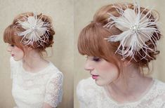 feather bridal fascinator--- see Retro and Vintage Inspired Bridal hair style guide here http://www.wedmepretty.com/go-for-a-retro-updo-with-a-vintage-inspired-piece/