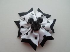 Black & White Minnie Mouse Hair Clip, Disney Hair Bow, Mickey Mouse Bow, Hair Accessories, Photo Prop, Birthday Hair Bow