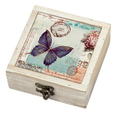 Distressed Butterfly Box | At Home Shopping We love trinket boxes and especially when then look as beautiful as this. Perfect for any small pieces of jewellery, this butterfly design box comes with a hinged lid, and antique style latch to the front, keeping your possessions safe whilst adding an elegant touch to any mantelpiece or bedside table. £7.99