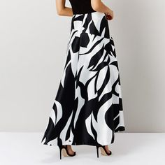 Olivia Palermo for Coast Store - Black and White Monochrome Maxi Skirt
