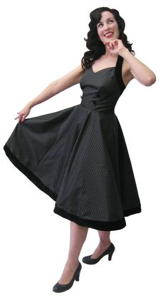 https://www.cityblis.com/5804/item/15236 | Suzette - $220 by reVamp | This elegant silhouette is a welcome addition both on and off the dance floor. Suzette is based on a photograph from 1955. The fabric is quite heavy which is in keeping with the thick, dense fabrics fashionable at the time. This halter dress is flattering on most body types. The six gore, full circl... | #Dresses