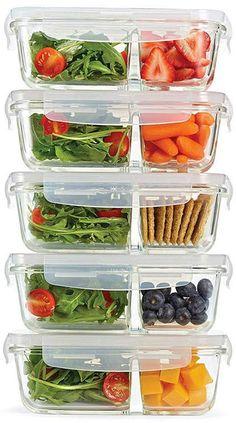 Fit & Fresh Set of 5 Divided Glass Containers, Oz Cheap Clean Eating, Clean Eating Snacks, Healthy Eating, Good Healthy Recipes, Healthy Drinks, Gourmet Recipes, Nutrition Drinks, Cooking Recipes, Nutrition Tips