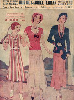 Portada Septiembre de 1932.  Un modelo juvenil junto a dos elegantes conjuntos de calle.