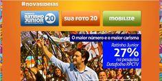 NOVO SITE NO AR! A Campanha do candidato Ratinho Junior criou mais um espaço para as pessoas acompanharem o dia a dia da campanha das novas ideias: o endereço é www.ratinhojunior20.com.br. Um site cheio de conteúdo, interativo e fácil de navegar. Lembrando que Ratinho Junior continua, também, com seu site dentro da rede social Pinterest: o endereço é pinterest.com/ratinhojunior20.
