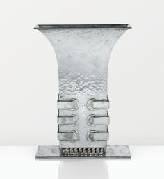 Hammered and Silver Plated Vase (c.1950) by Jean Desprès, France