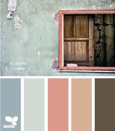 Window Frame palette by Design Seeds. Color Palette For Home, Colour Pallette, Color Palate, Colour Schemes, Color Combos, Design Seeds, Decoration Palette, Colour Board, Color Swatches