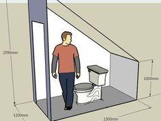 Resultado de imagen de toilet under the stairs Ergebnis der Toilette unter der Treppe – This. Small Attic Bathroom, Bathroom Under Stairs, Loft Bathroom, Bathroom Layout, Toilet Under Stairs, Bathroom Ideas, Understairs Toilet, Bathroom Dimensions, Small Toilet