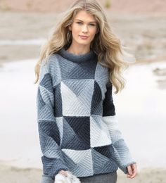 Sweater with a geometric pattern in the style of patchwork - Crafts Poncho Knitting Patterns, Mittens Pattern, Easy Knitting, Knitting For Beginners, Knitting Designs, Knit Skirt, Knitted Shawls, Knit Crochet, Sweaters For Women